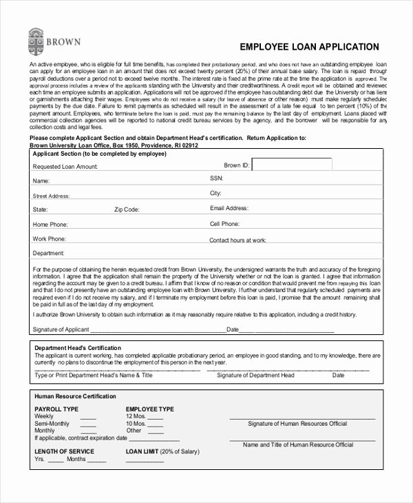 Loan Application form Sample Unique Sample Employee Application form 11 Free Documents In Pdf