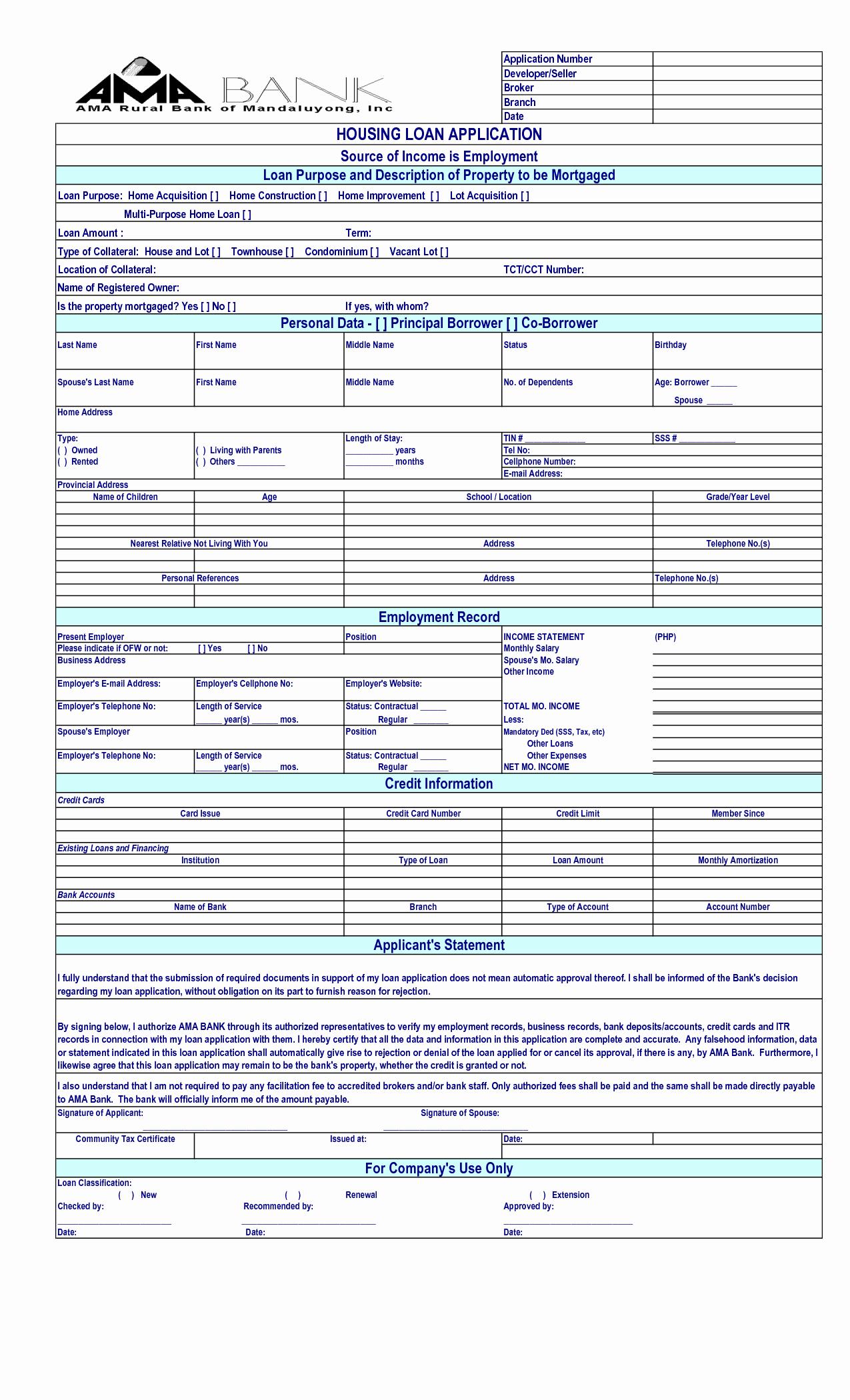 Loan Application Templates Beautiful Loan Application Template Free Printable Documents