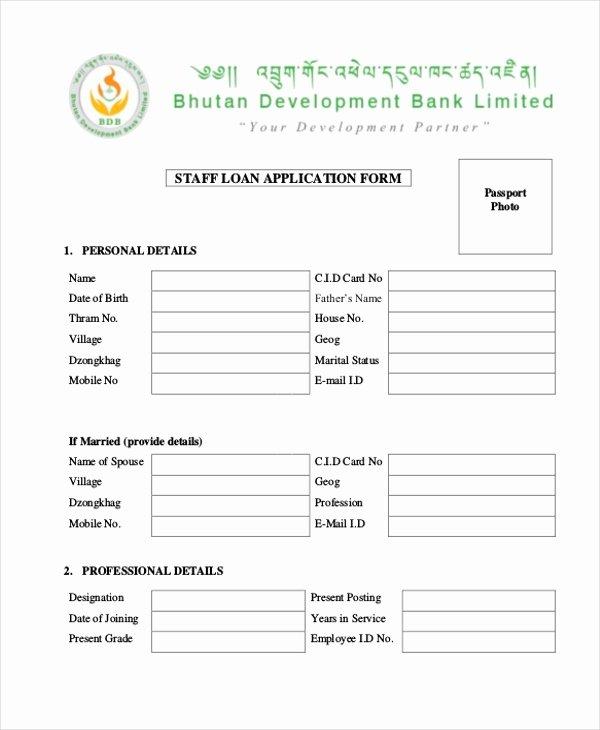 Loan Application Templates Beautiful Sample Loan Application form 11 Free Documents In Word Pdf