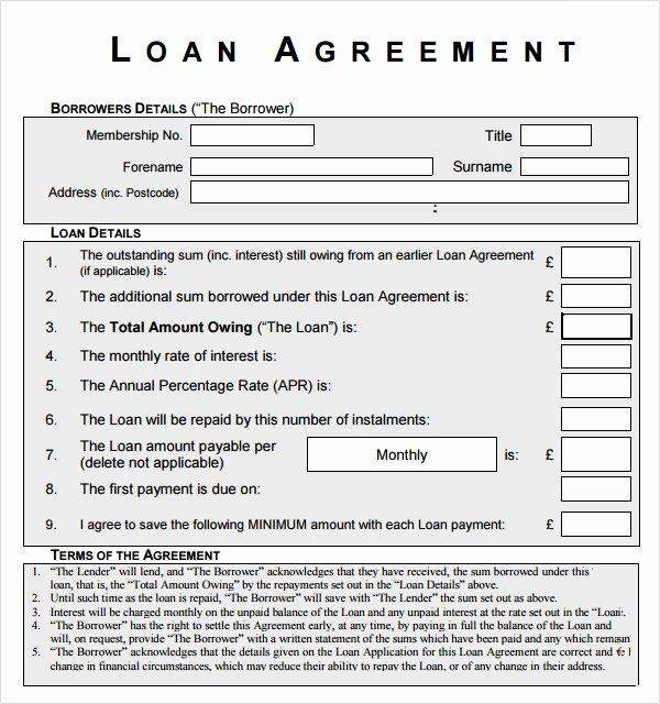 Loan Application Templates Elegant Sample Loan Agreement 12 Free Documents Download In Pdf