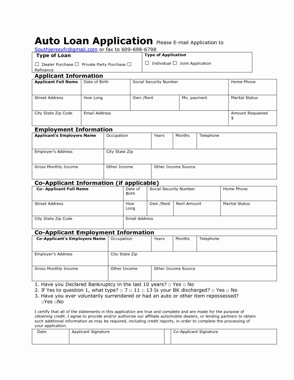 Loan Application Templates Unique Auto Credit Application Template