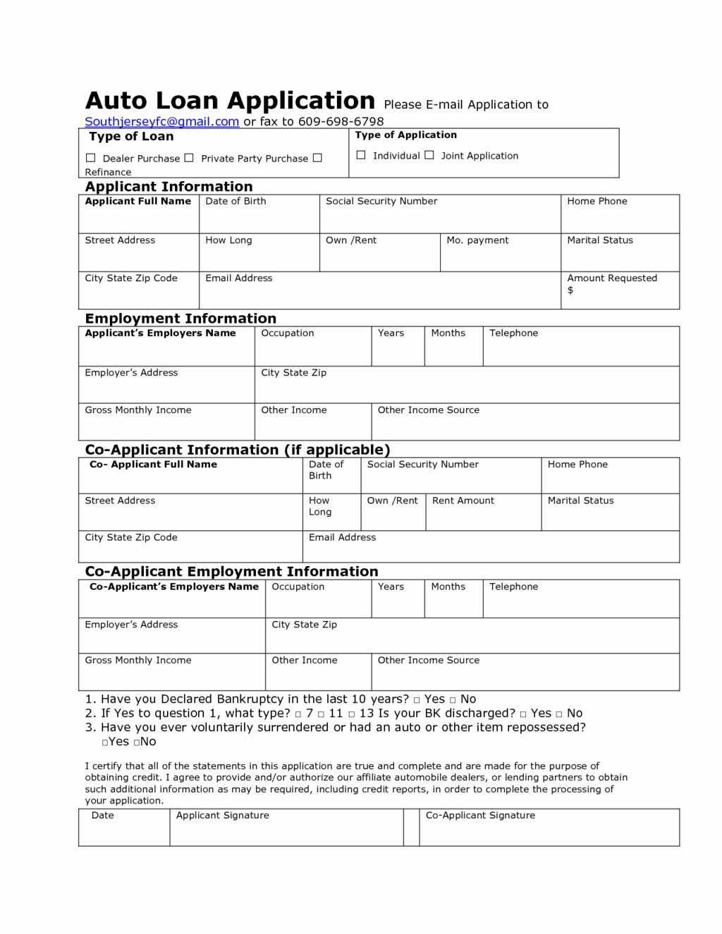 Loan form Template Awesome Auto Credit Application Template