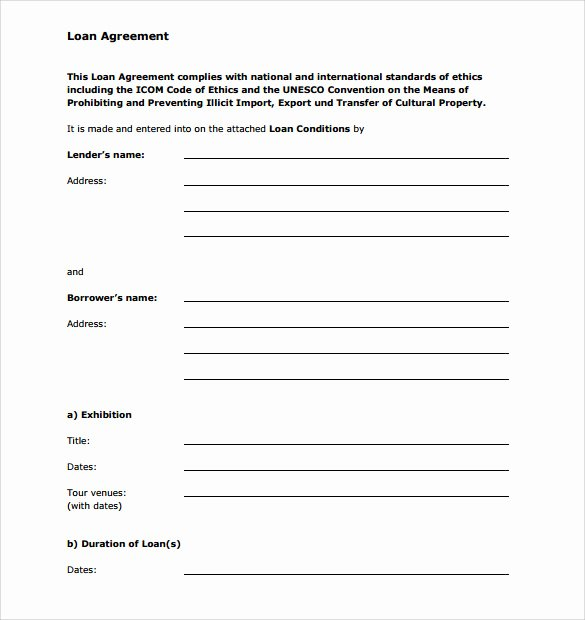 Loan form Template Beautiful Sample Personal Loan Agreement 6 Free Download Free