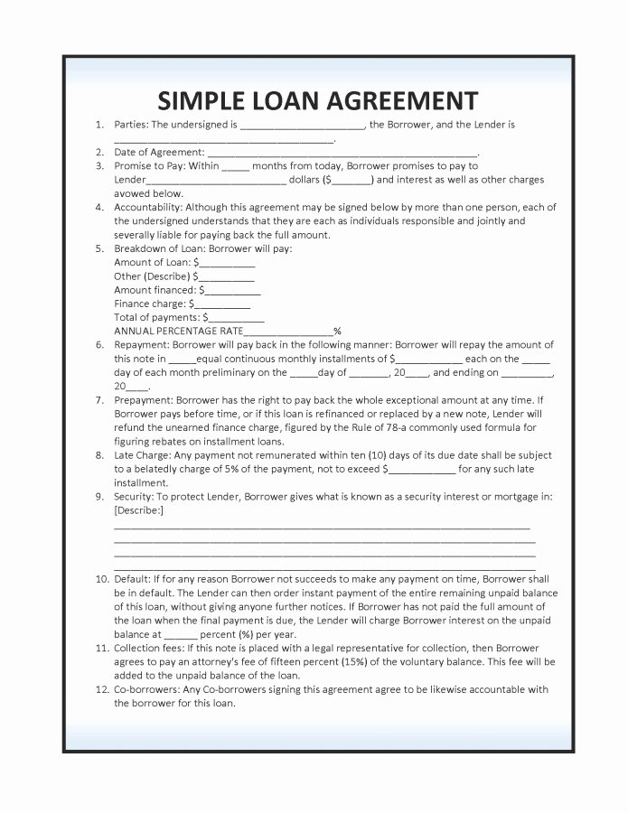 Loan form Template Fresh 14 Loan Agreement Templates Excel Pdf formats
