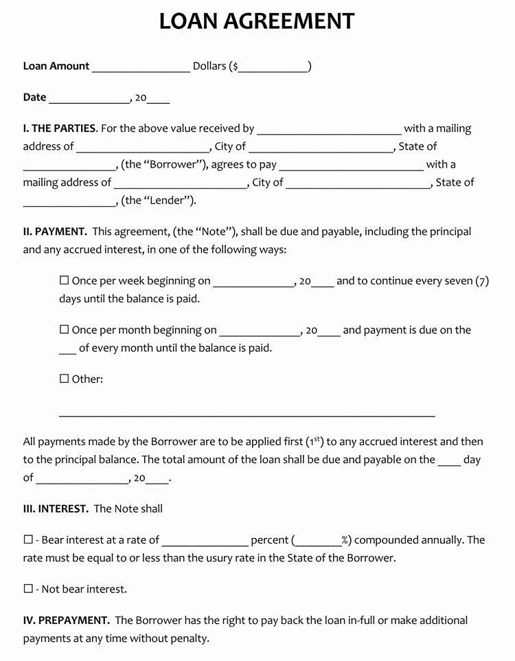 Loan form Template Fresh 45 Loan Agreement Templates & Samples Write Perfect