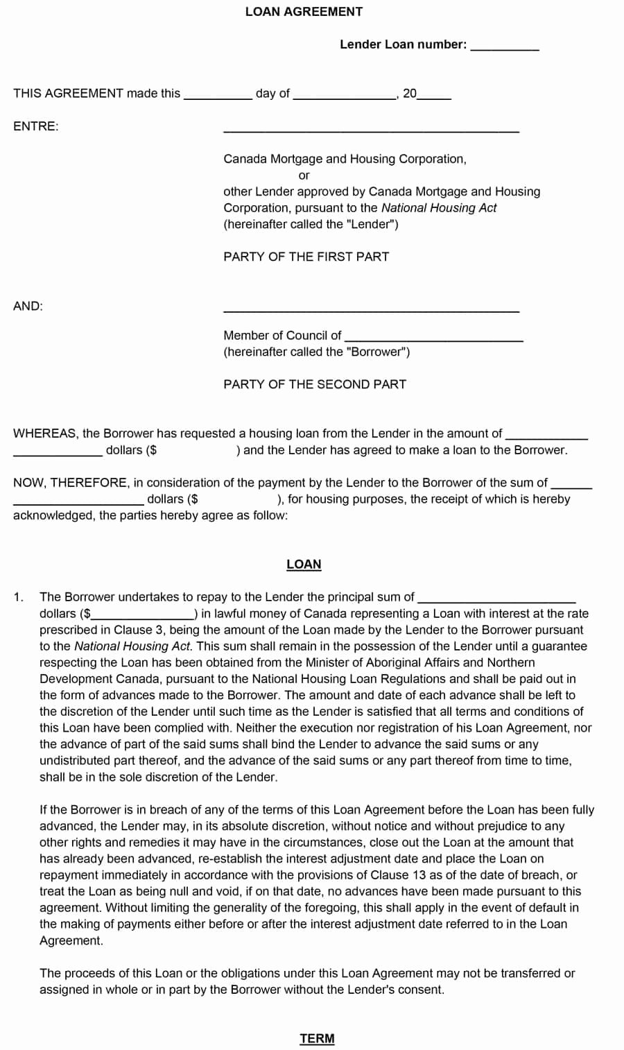 Loan form Template Lovely 40 Free Loan Agreement Templates [word & Pdf] Template Lab