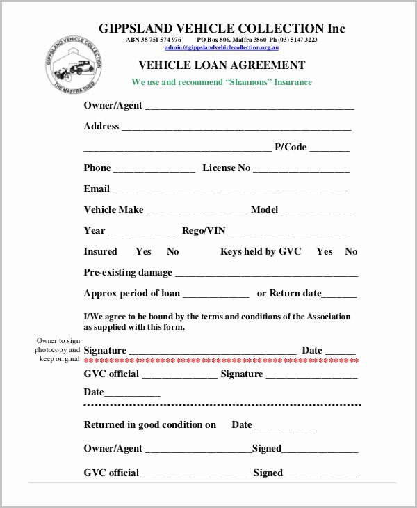 Loan form Template Unique Free Loan Agreement form