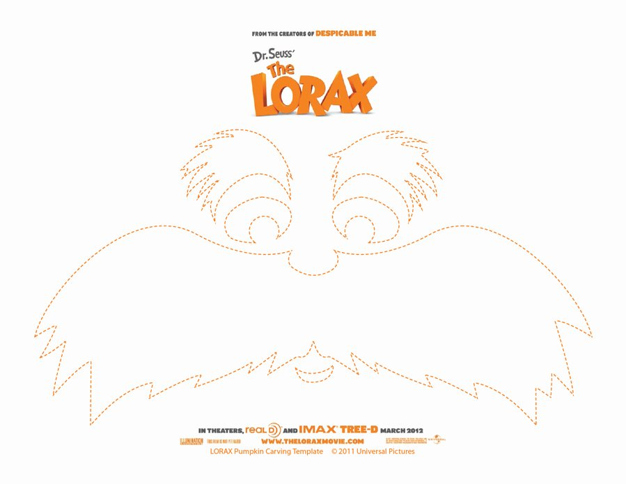 Lorax Mustache and Eyebrows Template New Lorax