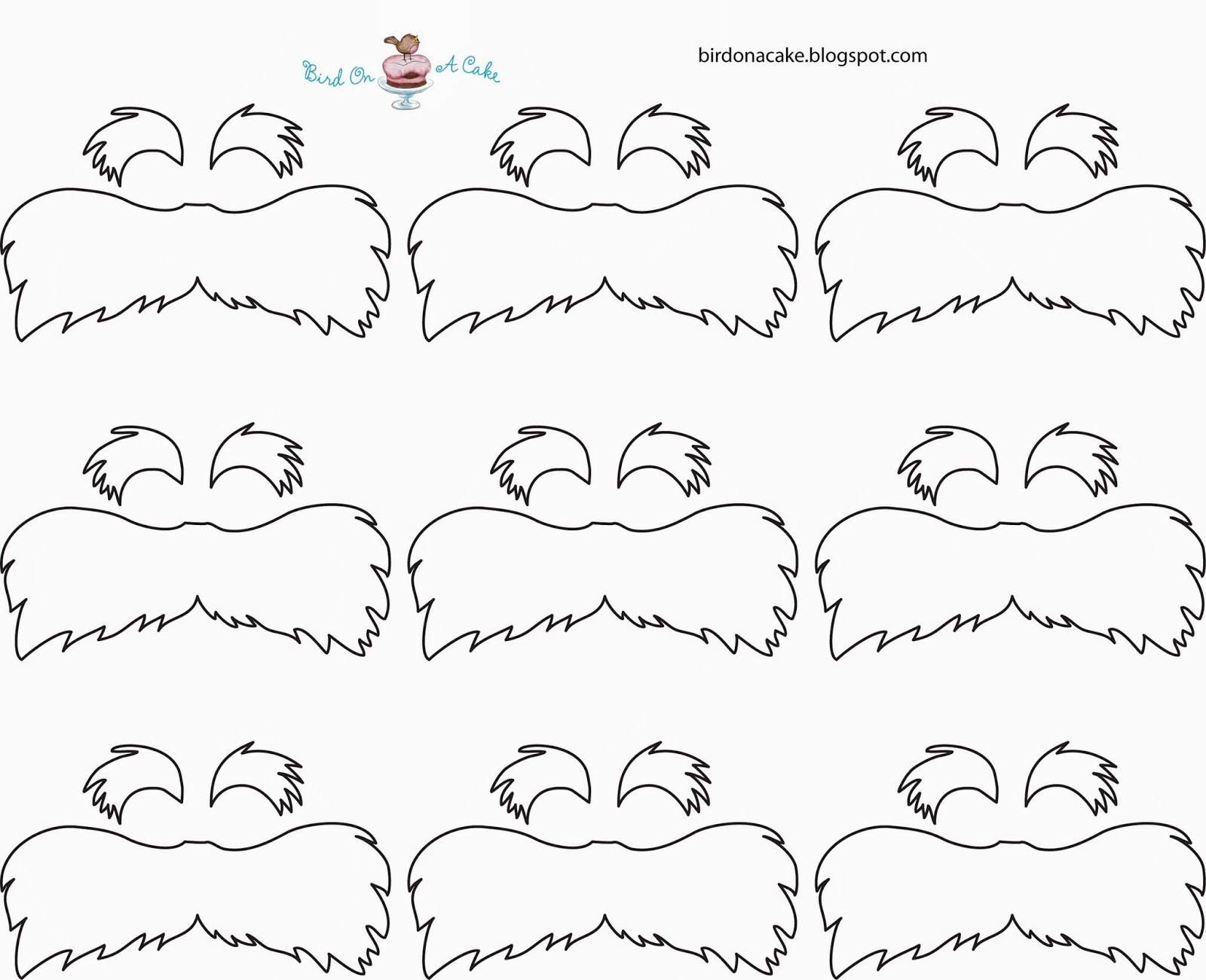 Lorax Mustache Printable Best Of Bird A Cake Dr Seuss the Lorax Cupcakes