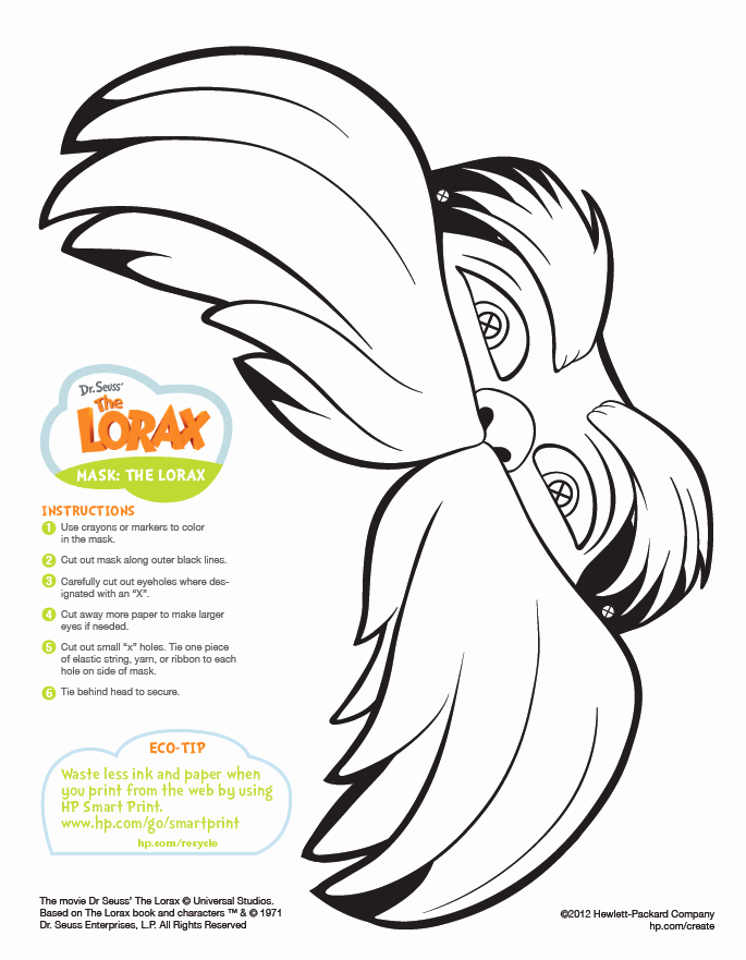 Lorax Mustache Printable Best Of the Lorax Mask Printable Preschool Dr Seuss