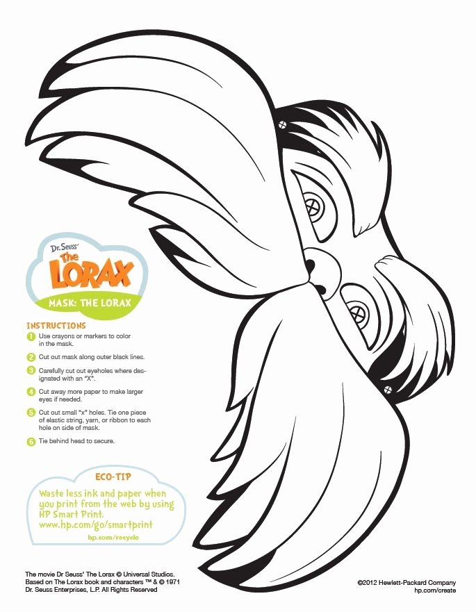 Lorax Mustache Printable Elegant Scientist Mask Craft Google Search