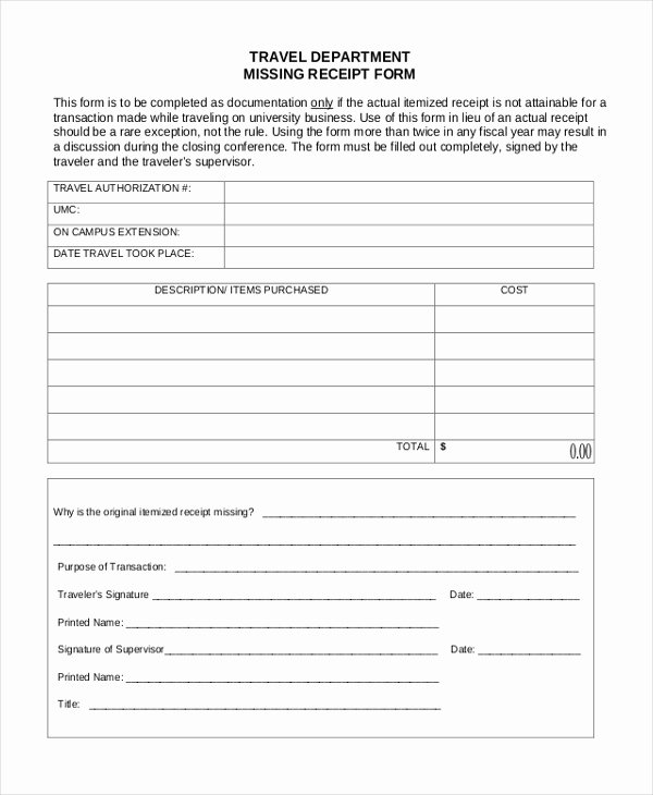 Lost Receipt form Template Best Of Sample Missing Receipt form 10 Free Documents In Word