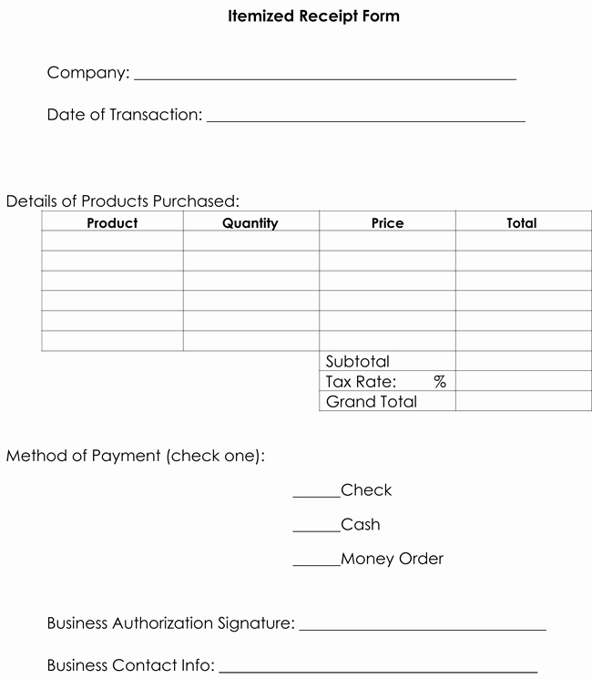 Lost Receipt form Template Elegant Itemized Receipt Template 10 Samples & formats for Word
