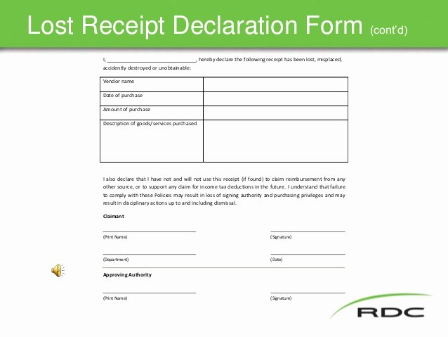 Lost Receipt form Template Luxury Travel Policy Slide Show Nov17 Final