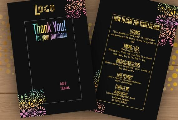 Lularoe Business Card Template Best Of 4x6 Lula Thank You Care Card Template Psd Editable Pdf
