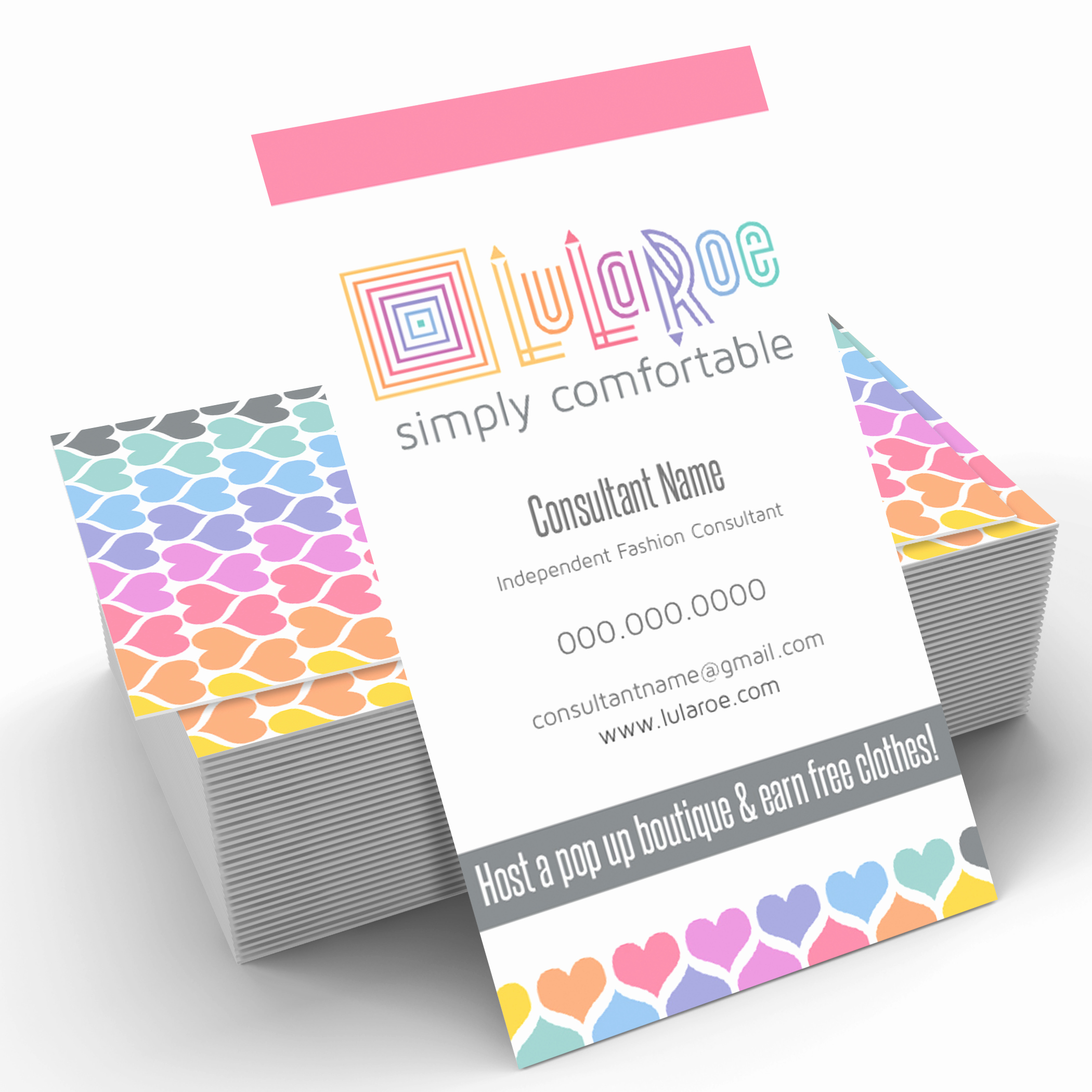 Lularoe Business Card Template Elegant Lularoe Business Card Vertical Heart Pattern