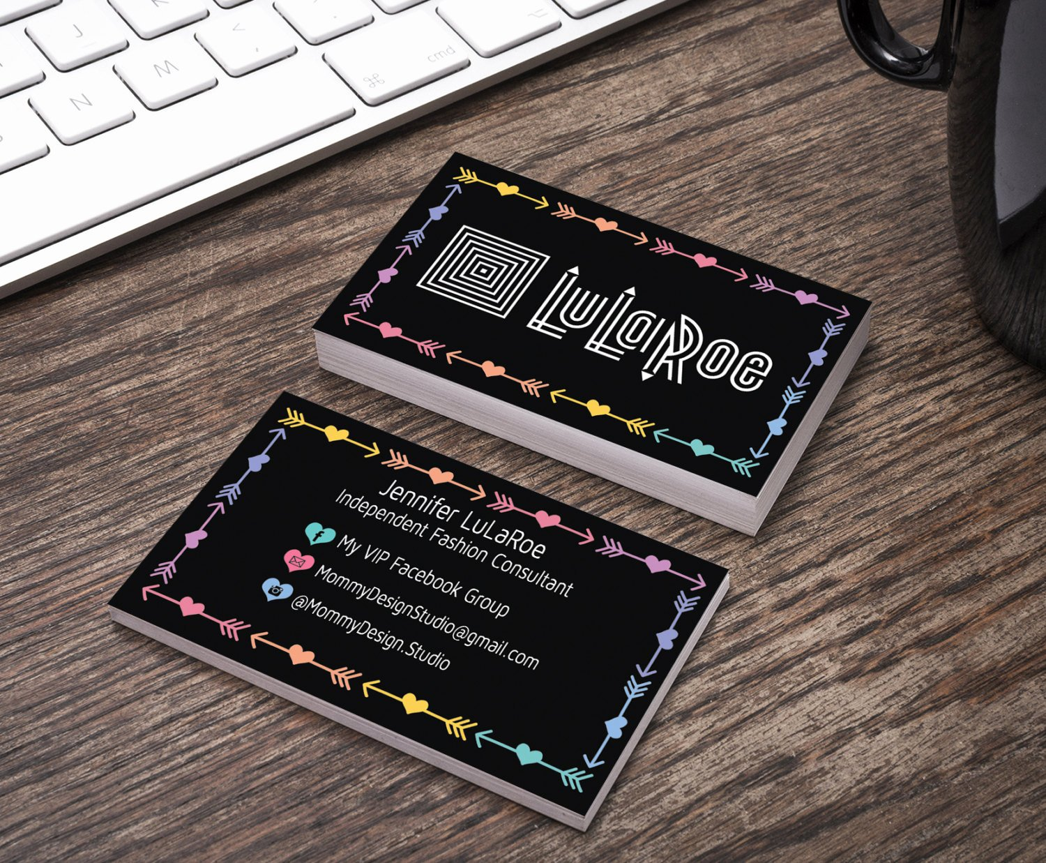 Lularoe Business Card Template New Lularoe Business Card Black Arrow & Heart by Mommydesignstudio