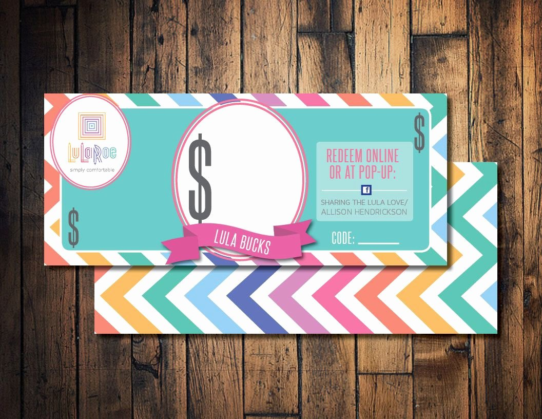 Lularoe Gift Certificate Template Beautiful Lula Roe Cash Lula Mula Lula Bucks Printable Lula Cash