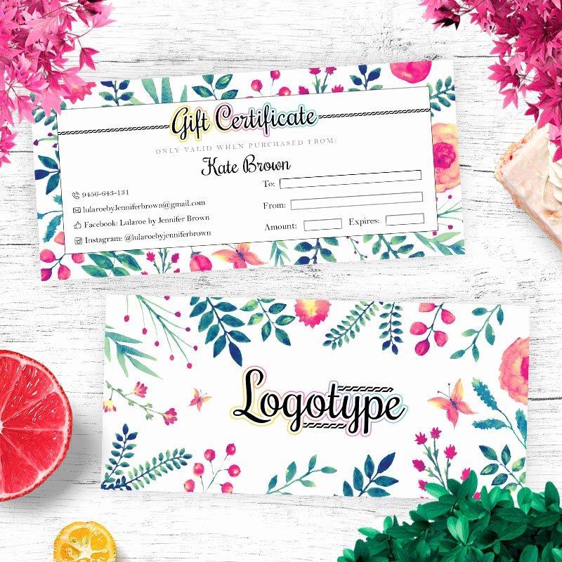 Lularoe Gift Certificate Template Inspirational Floral Lularoe Gift Certificate Cutergb Printable
