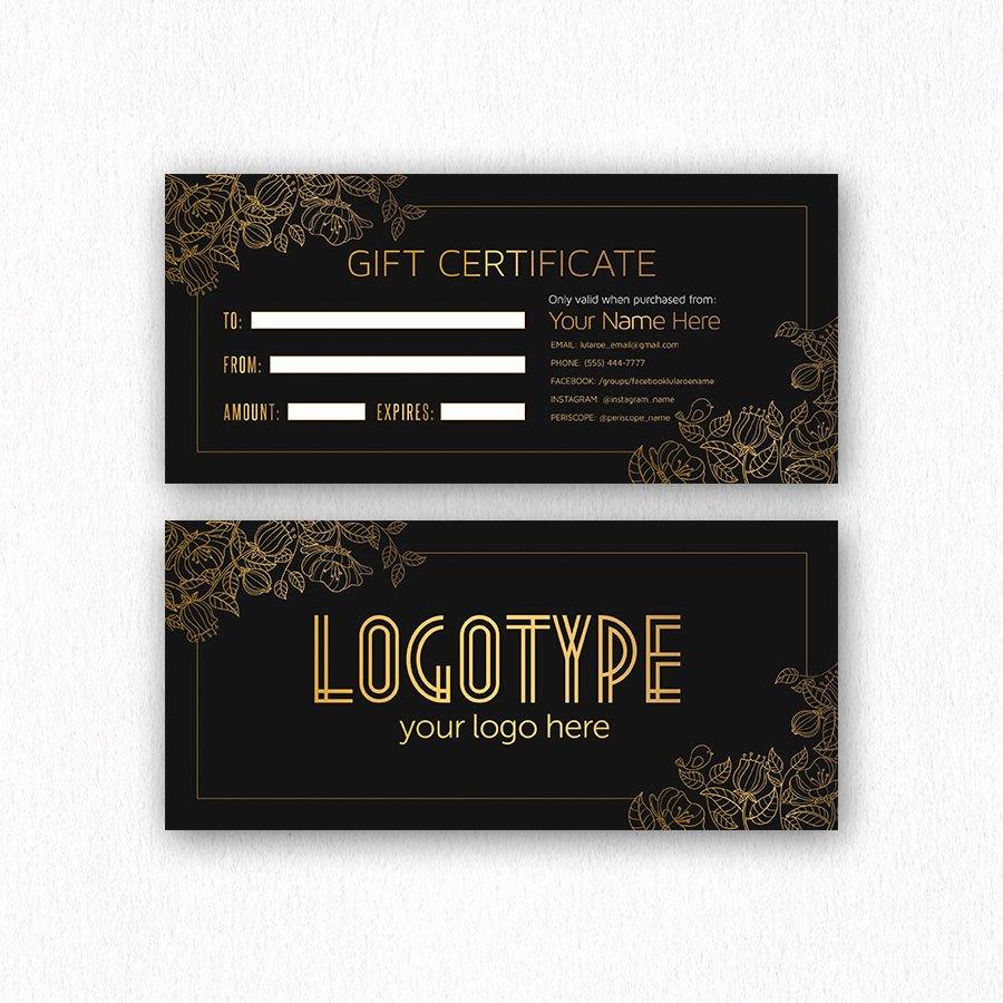 Lularoe Gift Certificate Template Lovely Elegant Golden Lularoe Gift Certificate Cutergb
