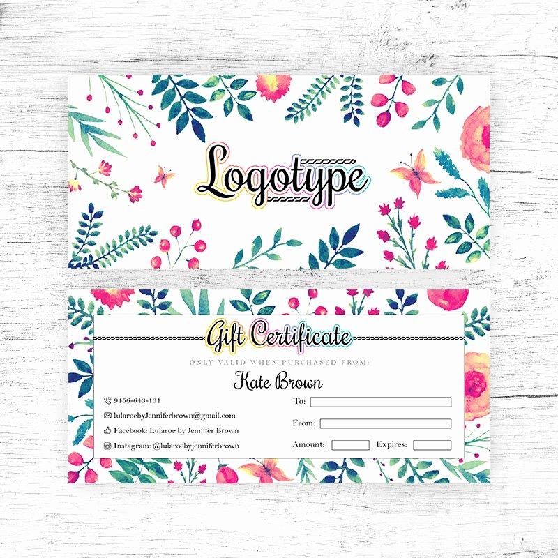Lularoe Gift Certificate Template Luxury Floral Lularoe Gift Certificate Cutergb Printable