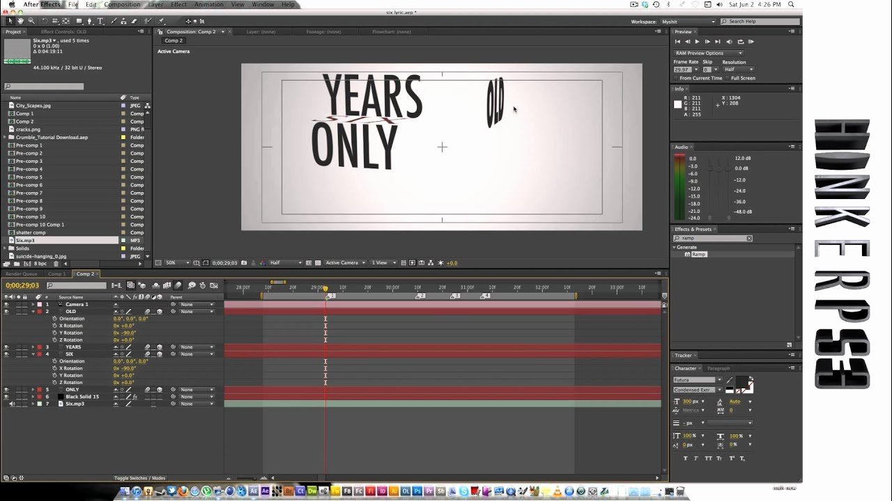 Lyric Video after Effects Awesome Adobe after Effects Tutorial Kinetic Typography