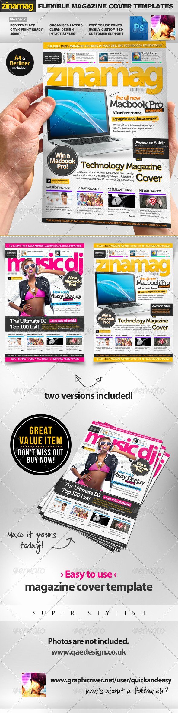 Magazine Cover Templates Psd Awesome Zinamag A4 Berliner Psd Magazine Cover Templates