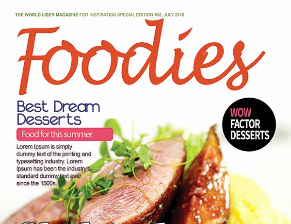 Magazine Cover Templates Psd Elegant Food Magazine Cover Psd Template – Graphicloads