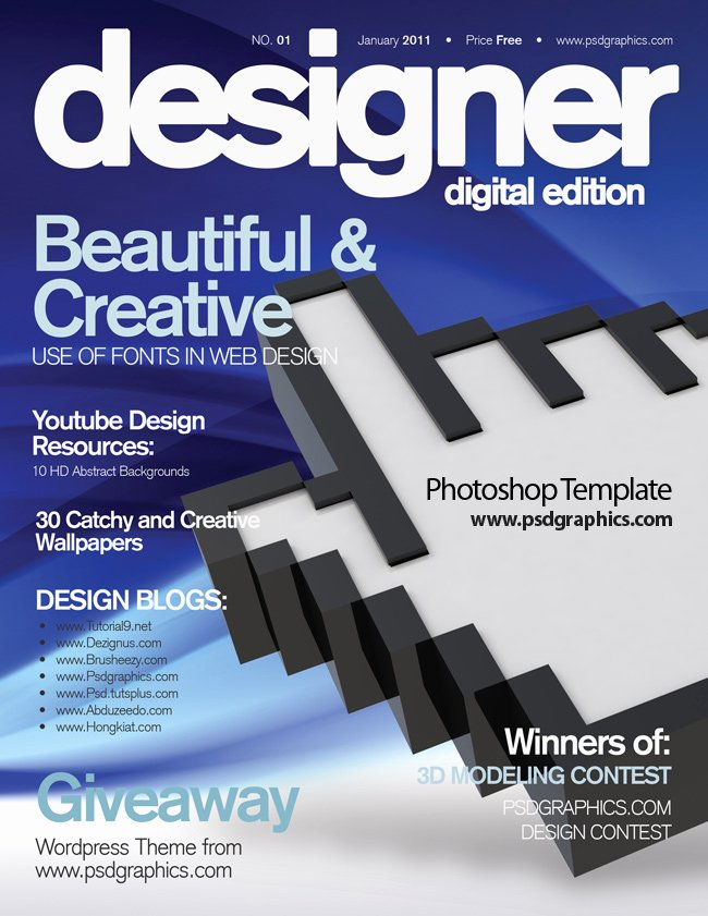 Magazine Cover Templates Psd Fresh Blue Magazine Cover Design Psd Print Template
