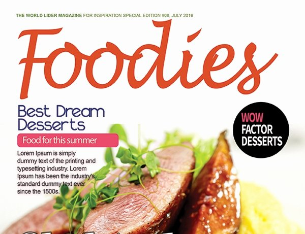 Magazine Cover Templates Psd New Food Magazine Cover Psd Template – Graphicloads