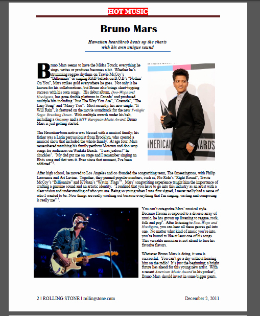 Magazine Template for Microsoft Word Inspirational Rolling Stone Magazine Project Document Design