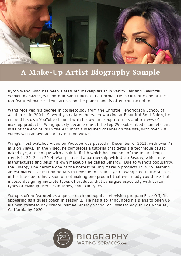 Makeup Artist Bio Examples Fresh Make Up Artist Biography Writing Expert Tips and Samples