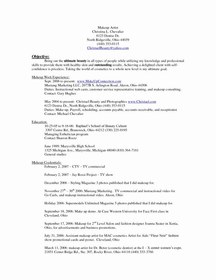 Makeup Artist Bio Sample Awesome 10 Makeup Artist Resume Examples Sample Resumes