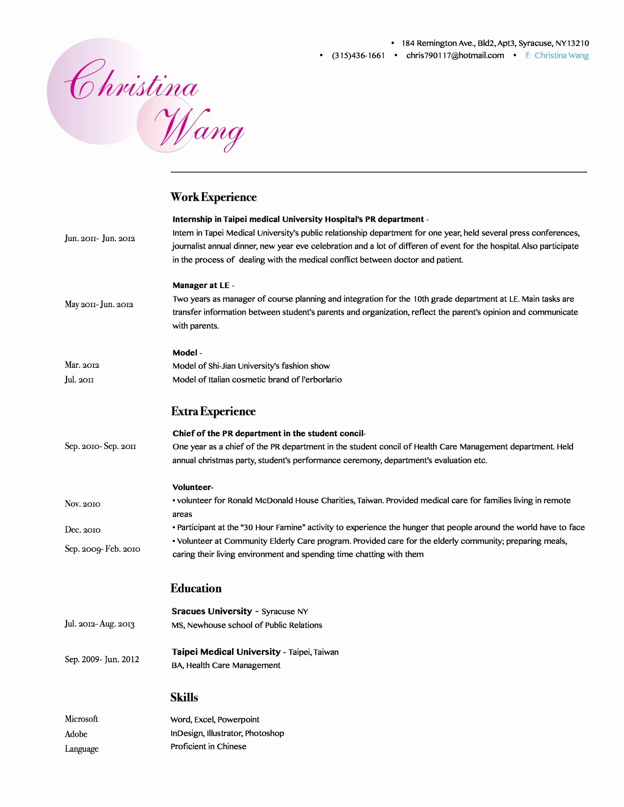 Makeup Artist Bio Sample Awesome Christina Wang's Resume