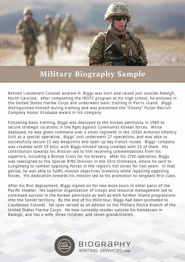 Makeup Artist Bio Sample New Military Biography Sample