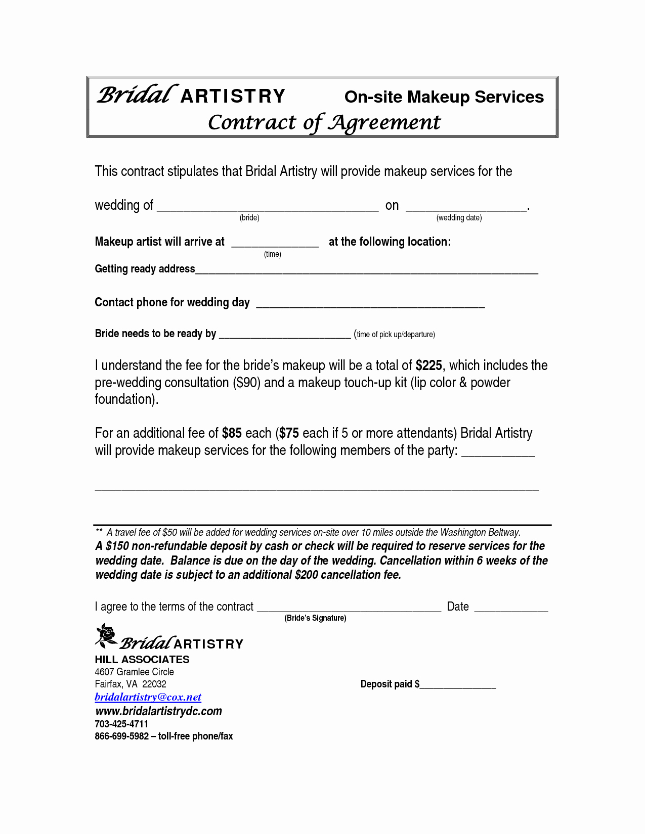 Makeup Contract Templates Awesome Best S Of Makeup Artist Bridal Contract Printable