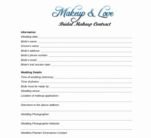 Makeup Contract Templates Beautiful Wedding Makeup Contract Template