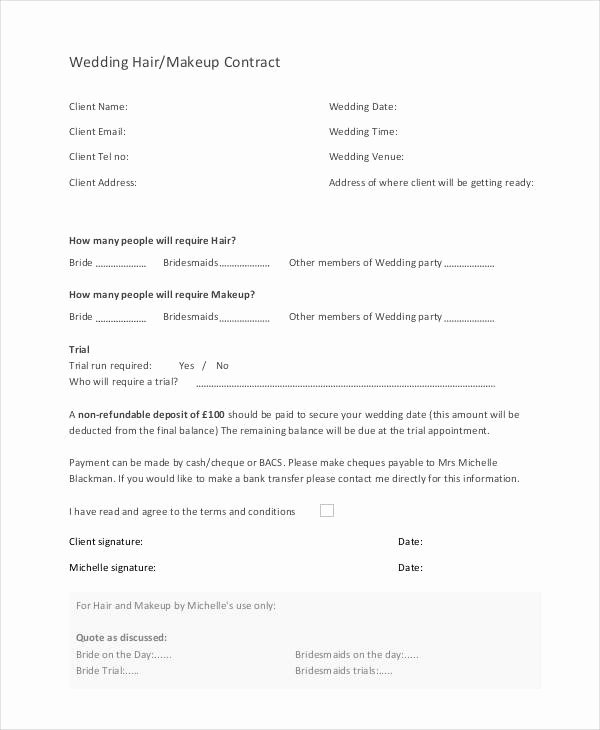 Makeup Contract Templates Best Of 9 Wedding Contract Samples Pdf Word Google Docs