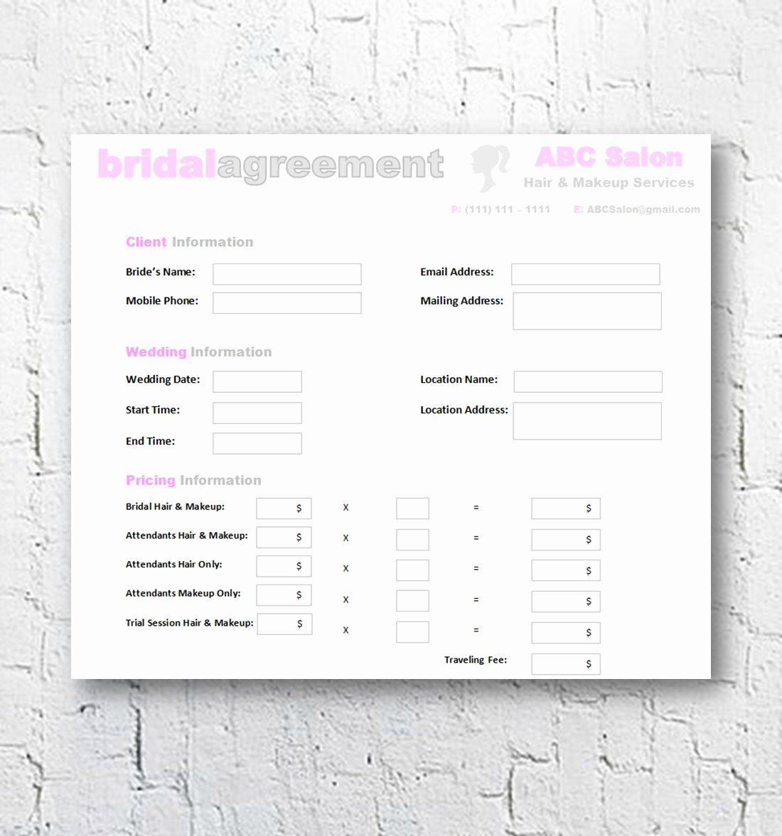 Makeup Contract Templates Best Of Hair Stylist & Makeup Artist Bridal Agreement Contract