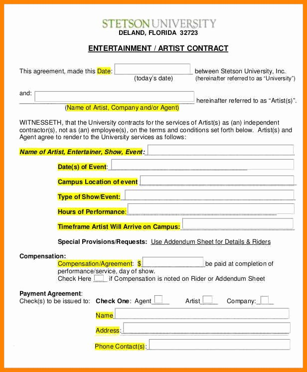 Makeup Contract Templates Inspirational 10 Entertainment Contract Template