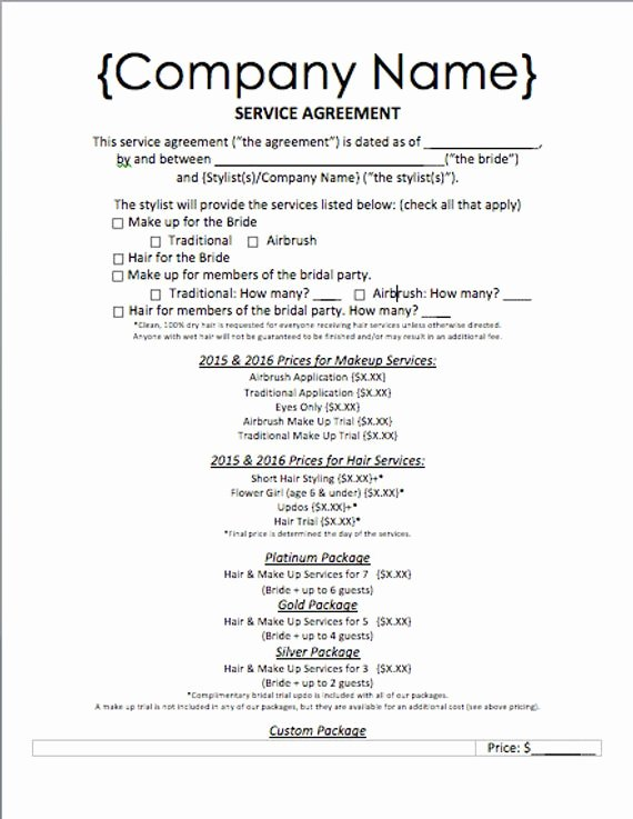 Makeup Contract Templates Lovely Items Similar to event Hair and Makeup Service Agreement