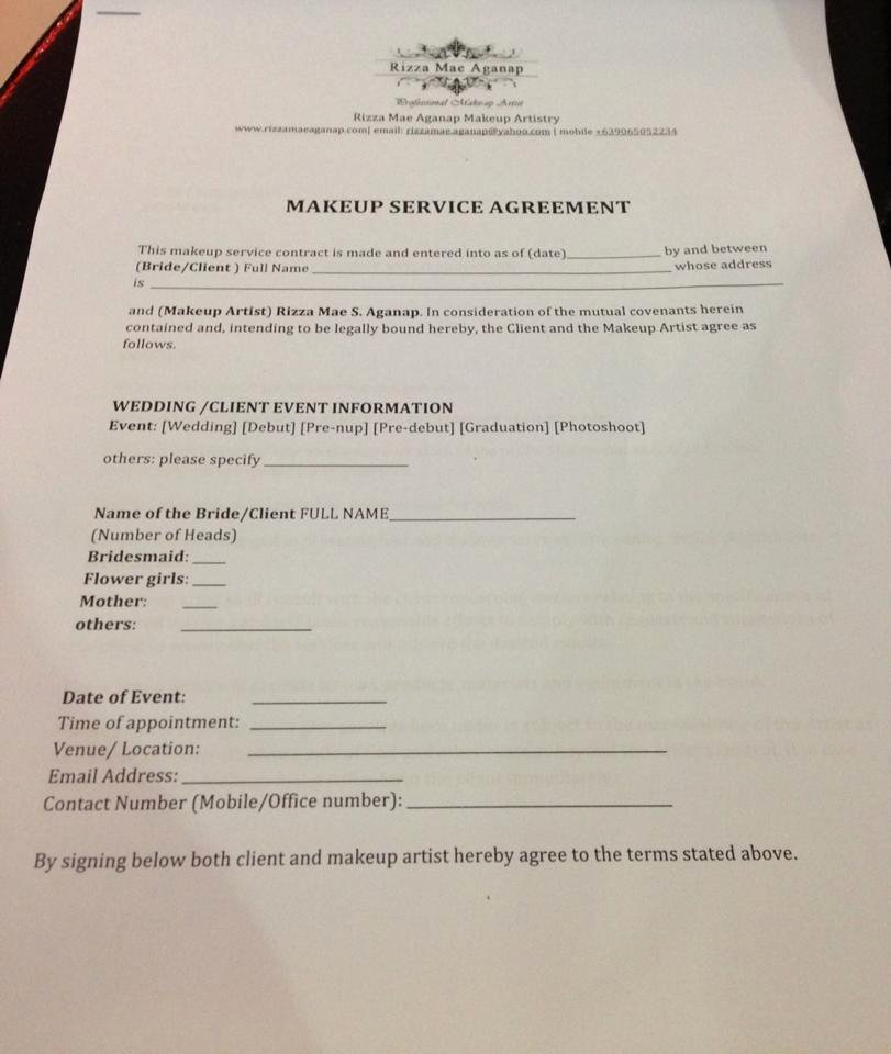 Makeup Contract Templates New September 2013 – Rizza Mae Aganap – Professional Makeup
