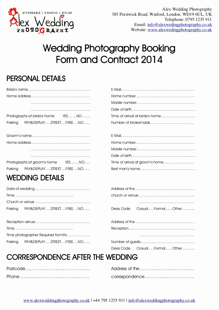 Makeup Contract Templates New Wedding Graphy Booking form and Contract 2014