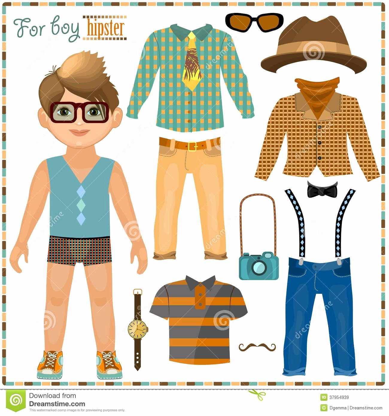 Male Paper Doll Elegant Paper Doll with A Set Of Clothes Cute Hipster Boy