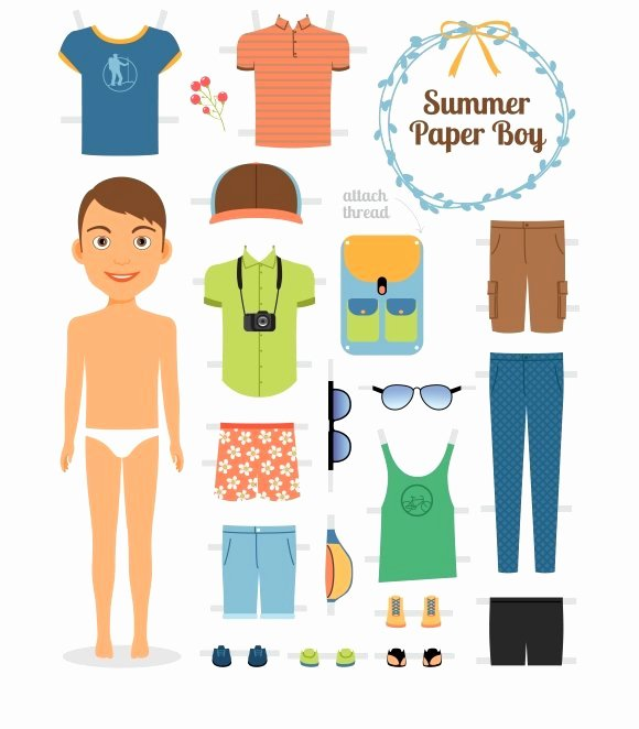 Male Paper Doll Inspirational Paper Doll Boy In Summer Clothes Illustrations
