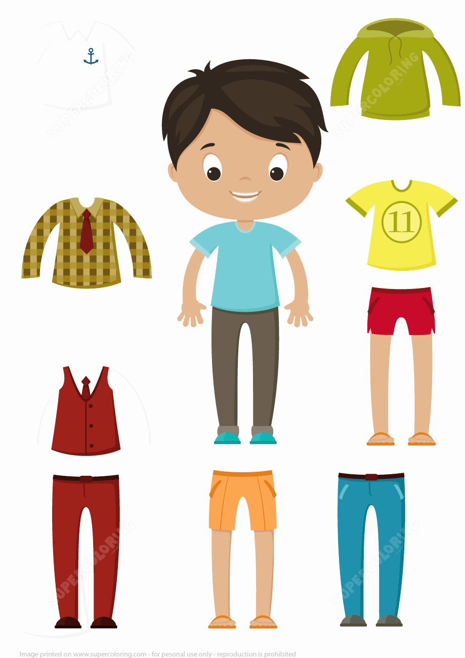 Male Paper Doll Lovely Cut Out Boy Paper Doll Clothes Set