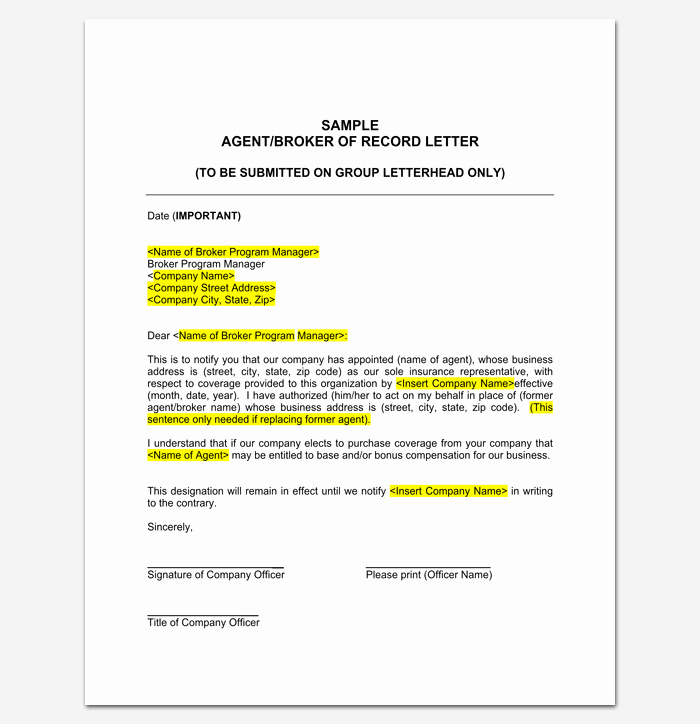 Manufacturers Rep Agreement Sample Awesome Agent Appointment Letter 16 Samples formats Examples