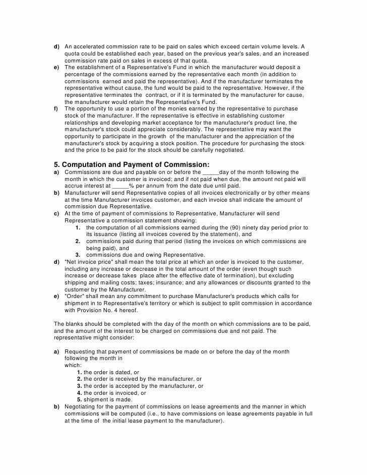 Manufacturers Rep Agreement Sample Best Of Contracts