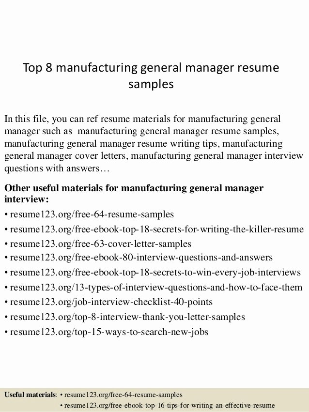 Manufacturers Rep Agreement Sample Elegant top 8 Manufacturing General Manager Resume Samples