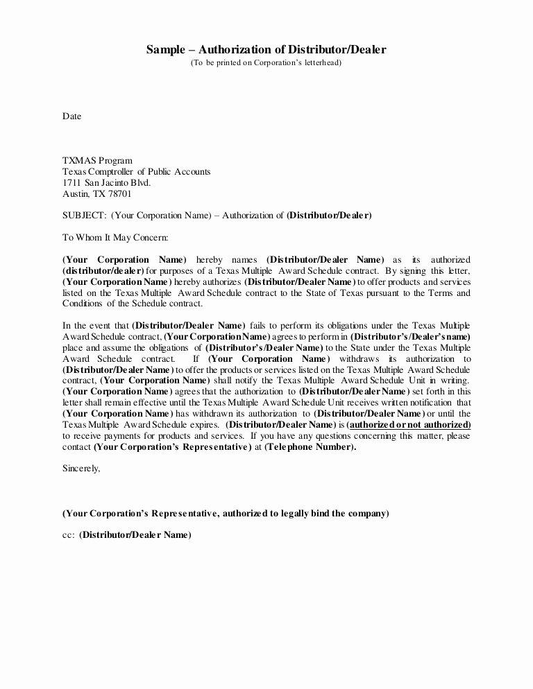 Manufacturers Rep Agreement Sample Inspirational Authorizationof Distributor Dealer
